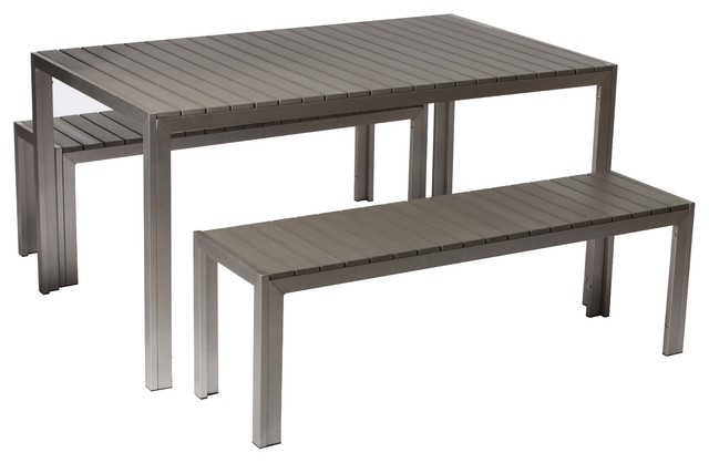 Breeze 3 Piece Dining Set, Gray