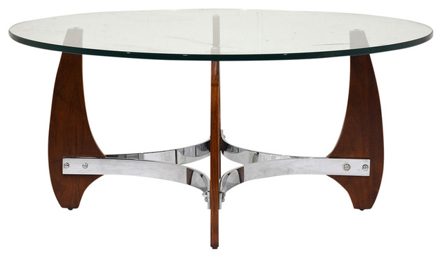 Consigned Mid Century Modern Wood And Chrome Coffee Table