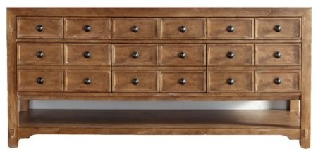 """71"""" Malibu Double Cabinet Only Without Top, Honey Alder."""