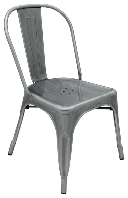 Graham Industrial Loft Steel Outdoor Safe French Deco Dining Chair  Industrial Outdoor Dining
