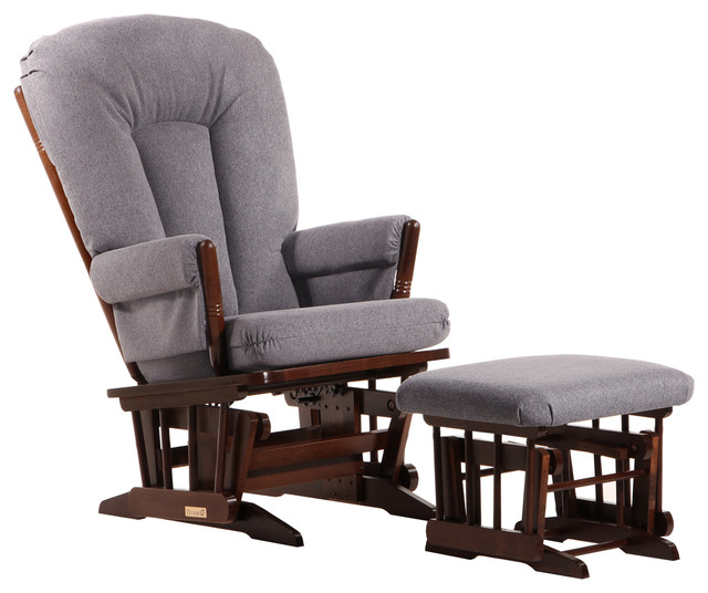 Dutailier Colonial Glider with Ottoman in Coffee with Dark Gray by Dutailier Group