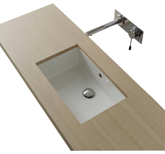 Rectangular White Ceramic Undermount Sink Modern