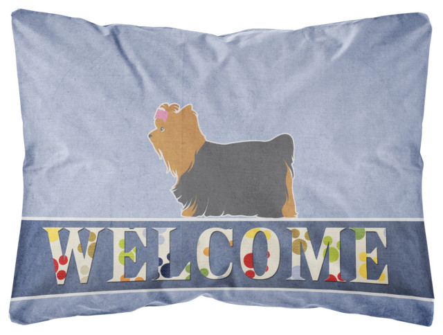 Yorkshire Terrier Yorkie Welcome Decorative Pillow 12 X16 Contemporary Outdoor Cushions And Pillows By Virventures Houzz