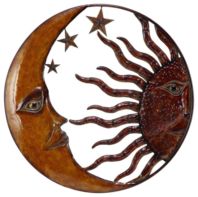 Rustic Metal Wall Art woodland imports metal sun moon wall decor with antique brown look
