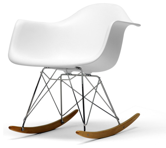 Baxton Studio White Plastic Rocking Chair Midcentury