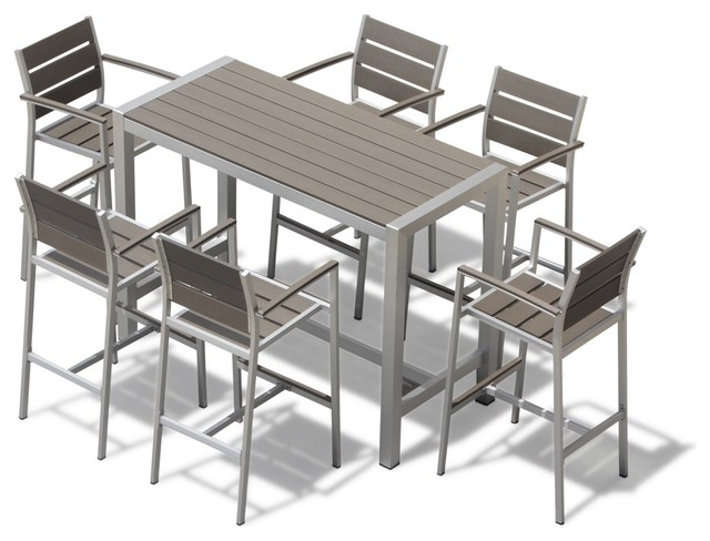 Medici 7 Pc Aluminum Outdoor Patio Furniture Dining Bar Table And