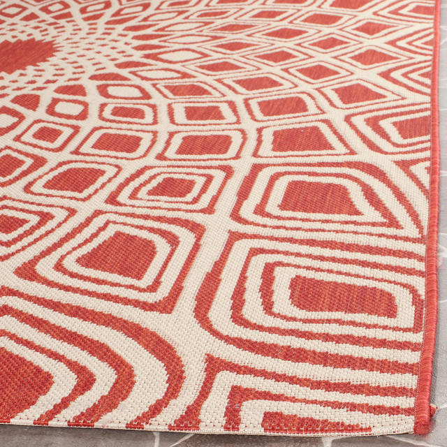 "Ariel Indoor/outdoor Rug, Red/beige, 6&x27;7""x9&x27;6""."