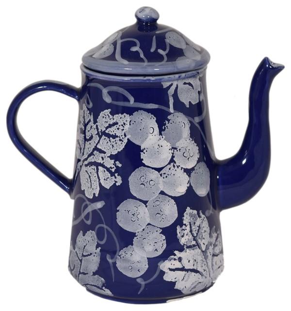 Chianti Ceramic Coffee Pot, Blue And White.