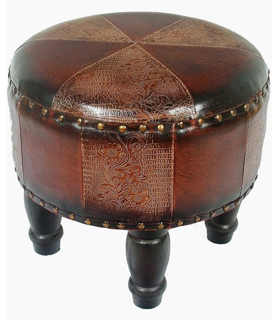 Faux Leather Small Mix Pattern Ottoman Traditional