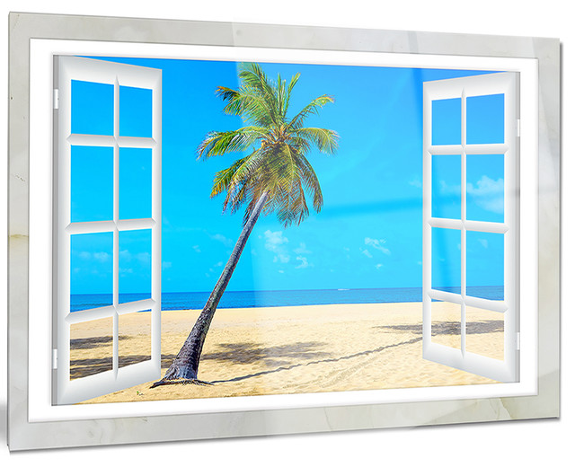 Landscape Glossy Metal Wall Art 28 H/ x/ 60 W/ x/ 1 D 5PE Blue//White Designart Window to Beach with Coconut Palms