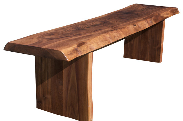 Walnut Slab Live Edge Bench Rustic Accent And Storage