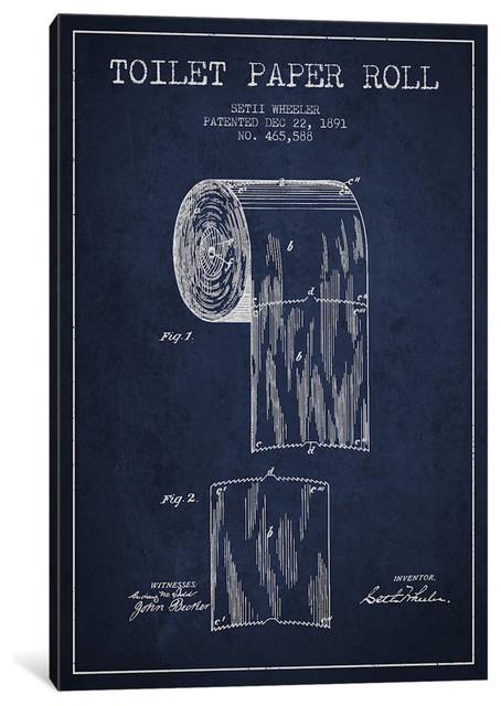 """Toilet Paper Navy Blue Patent Blueprint"" by Aged Pixel, 18x12x0.75"""