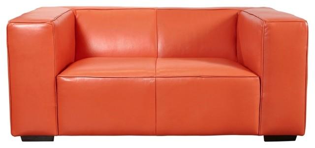 Lazzaro Leather Hayden Loveseat Tangerine Contemporary