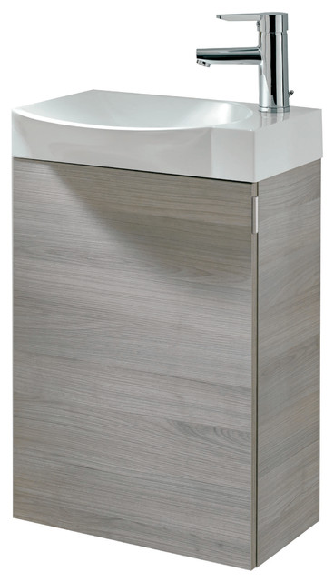 "Eviva Tiny 18"" Wall Mount Gray Bathroom Vanity With Integrated Porcelain Sink."