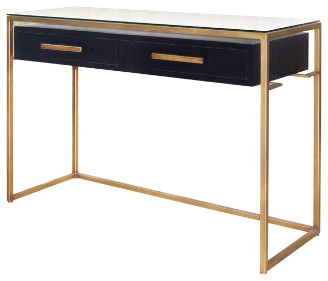 Firenze Floating Console Table 2 Drawers Gold Frame, Espresso.