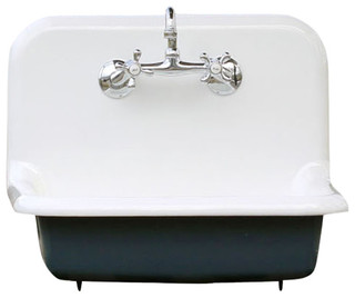 Antique Style High Back Farm Sink Cast Iron Porcelain Wall Sink, Navy, 24""