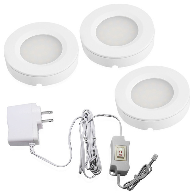 Torchstar set of 3 led under cabinet lighting kit 2watt led set of 3 led under cabinet lighting kit 2watt led puck lights contemporary undercabinet asfbconference2016 Choice Image