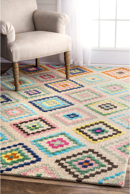 Tribal Diamonds Area Rug, Ivory, 5'x8'