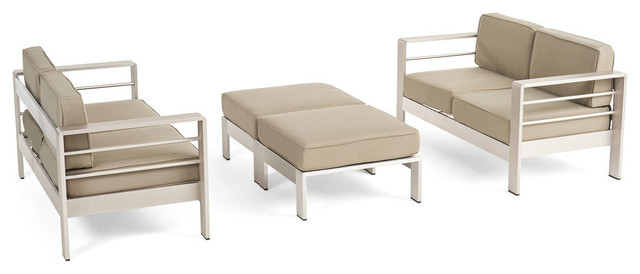 Terrific Gdf Studio Emily Coral Outdoor 4 Seater Loveseat And Ottoman Set Silver Khaki Creativecarmelina Interior Chair Design Creativecarmelinacom