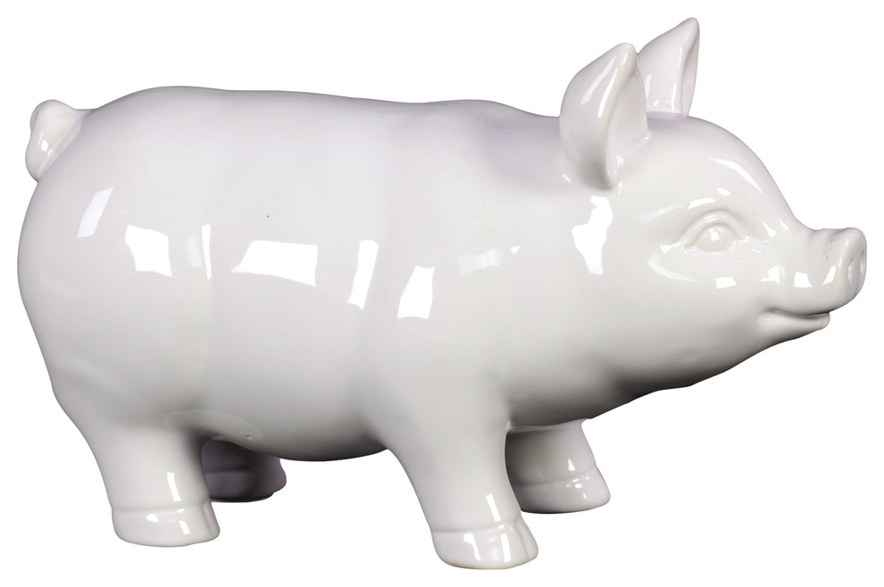 Ceramic Pig Figurine Farmhouse Decorative Objects And Figurines By Urban Trends Collection