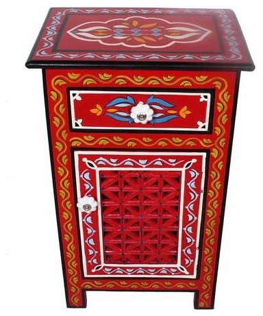 Red Moroccan Top Mango Wood Hand Painted 1 Drawer Nightstand End