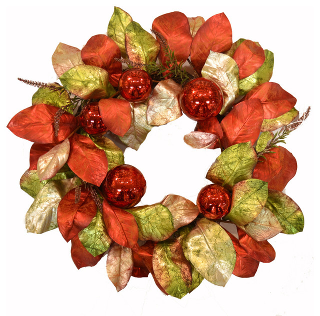 Designer Red And Green Magnolia Wreath With Ornaments.