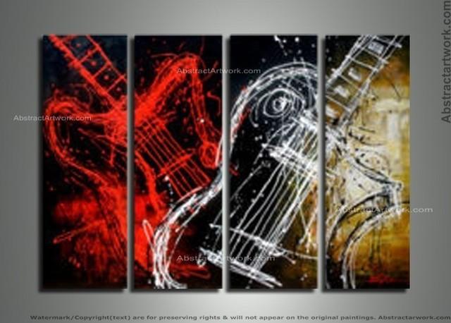 """""""rock & Roll"""" Modern Guitar Art Painting."""