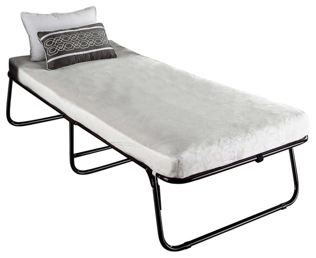 Folding Black Metal Guest Bed Frame With Mattress 31 X 75 Inch by Casa Furnish Store