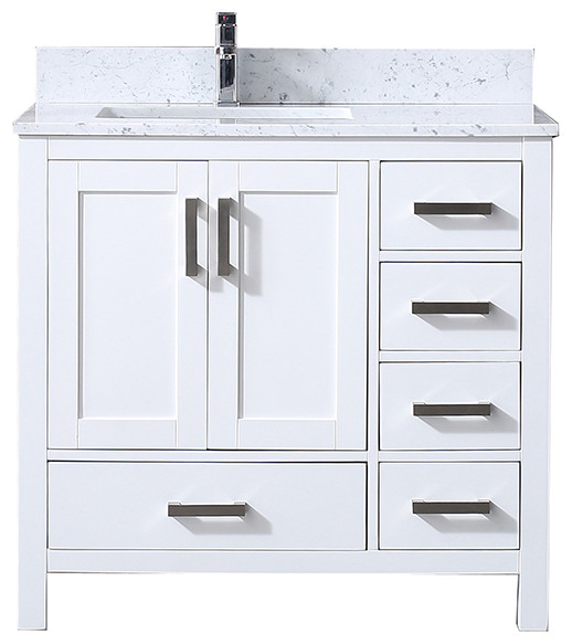 """Jacques 36"""" White Single Vanity With Top, Sink, no Mirror, Left"""