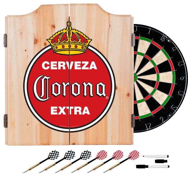 Corona Dart Cabinet Set With Darts and Board, Vintage - Contemporary - Darts And Dartboards - by ...