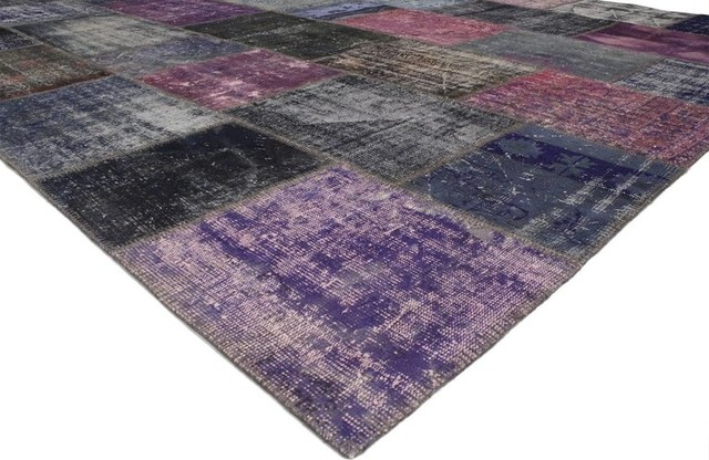 Consigned Vintage Purple Patchwork Persian Rug 11 X16 3