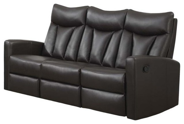 Reclining Sofa Charcoal Gray Bonded Leather
