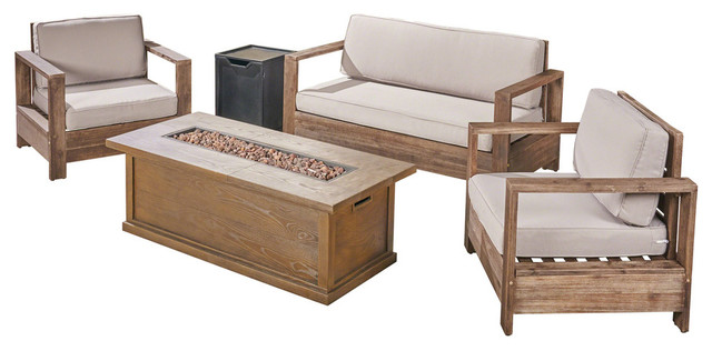 GDF Studio Alexis Outdoor 4-Seater Acacia Chat Set with Fire Pit and Tank Holder