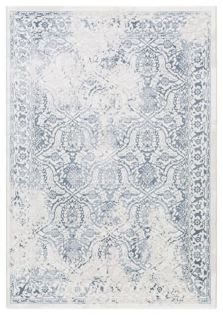 Contempo Traditional White, Light Gray Area Rug, 7&x27;10x10&x27;.