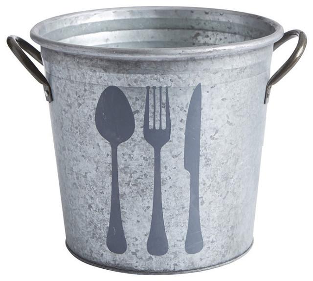 Rustic Kitchen Utensil Holder: Flatware Galvanized Bucket