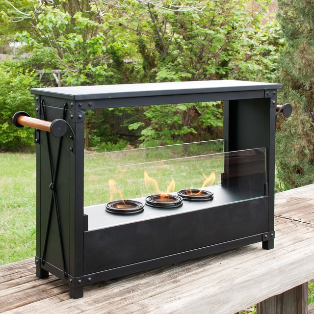 Upton Home Marino Portable Black Indoor Outdoor Gel Fireplace Contemporary Outdoor