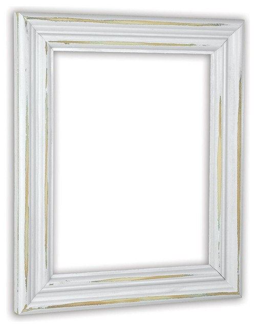 Distressed White Picture Frame, Solid Wood - Rustic - Picture Frames ...