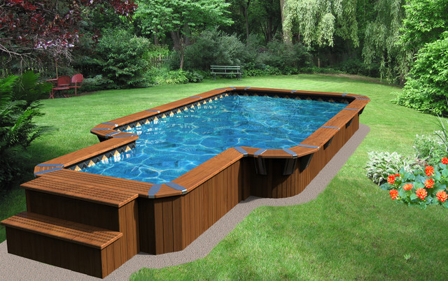 Rectangular semi in ground pool aqua bois for Square above ground pool