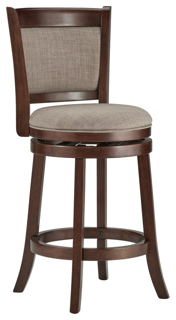 """Alfred Hill Cushion Back Swivel Stool, Gray Linen, 24"""" Counter"""