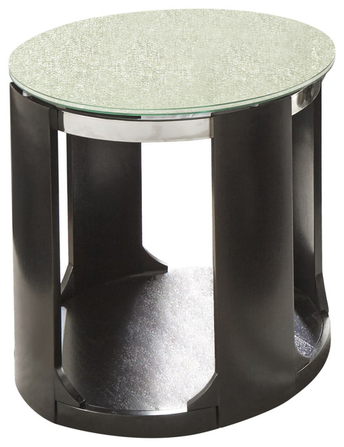 Croften Cracked Glass Round End Table Contemporary Side Tables And End Tables By Steve Silver