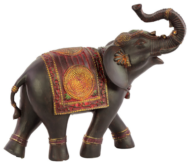 Unique Resin Elephant Small With Red Blanket Figurine