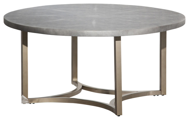Aico Freestanding Alta Round Cocktail Table With Gray Top FS ALTA201  Transitional Coffee
