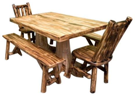 5 Piece Northern Torched Cedar Log Set With Table 2 Benches And Chairs Rustic Dining Sets By Midwest Furniture