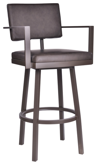 Stupendous Callisto 26 Counter Stool With Arms Brown Powder Coated Brown Faux Leather Onthecornerstone Fun Painted Chair Ideas Images Onthecornerstoneorg