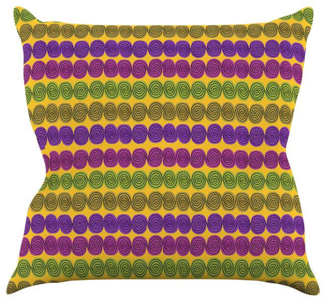 Jane Smith Under The Sea Shells Purple Yellow Throw Pillow