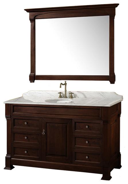 "Andover 55"" Vanity Round Sink 50"" Mirror Dark Cherry White Carrera Marble."