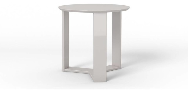 Bon Modern Wooden Round Accent End Table, Gloss Lacquered Finish, White