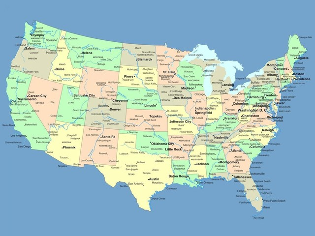 Usa Map With Names Of States And Cities Peel And Stick Removable - Little rock usa map