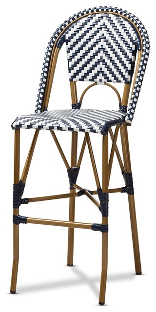 Pleasing Modern Indoor Outdoor White Blue Bamboo Style Stackable Bistro Bar Stool Theyellowbook Wood Chair Design Ideas Theyellowbookinfo