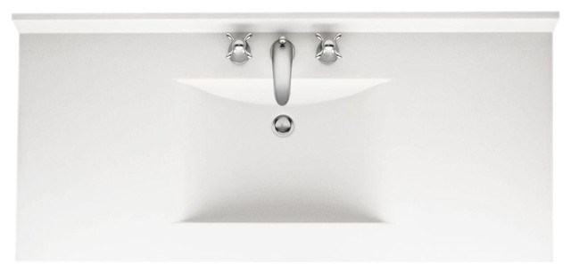 Contour 43 Solid Surface Vanity Top White Basin